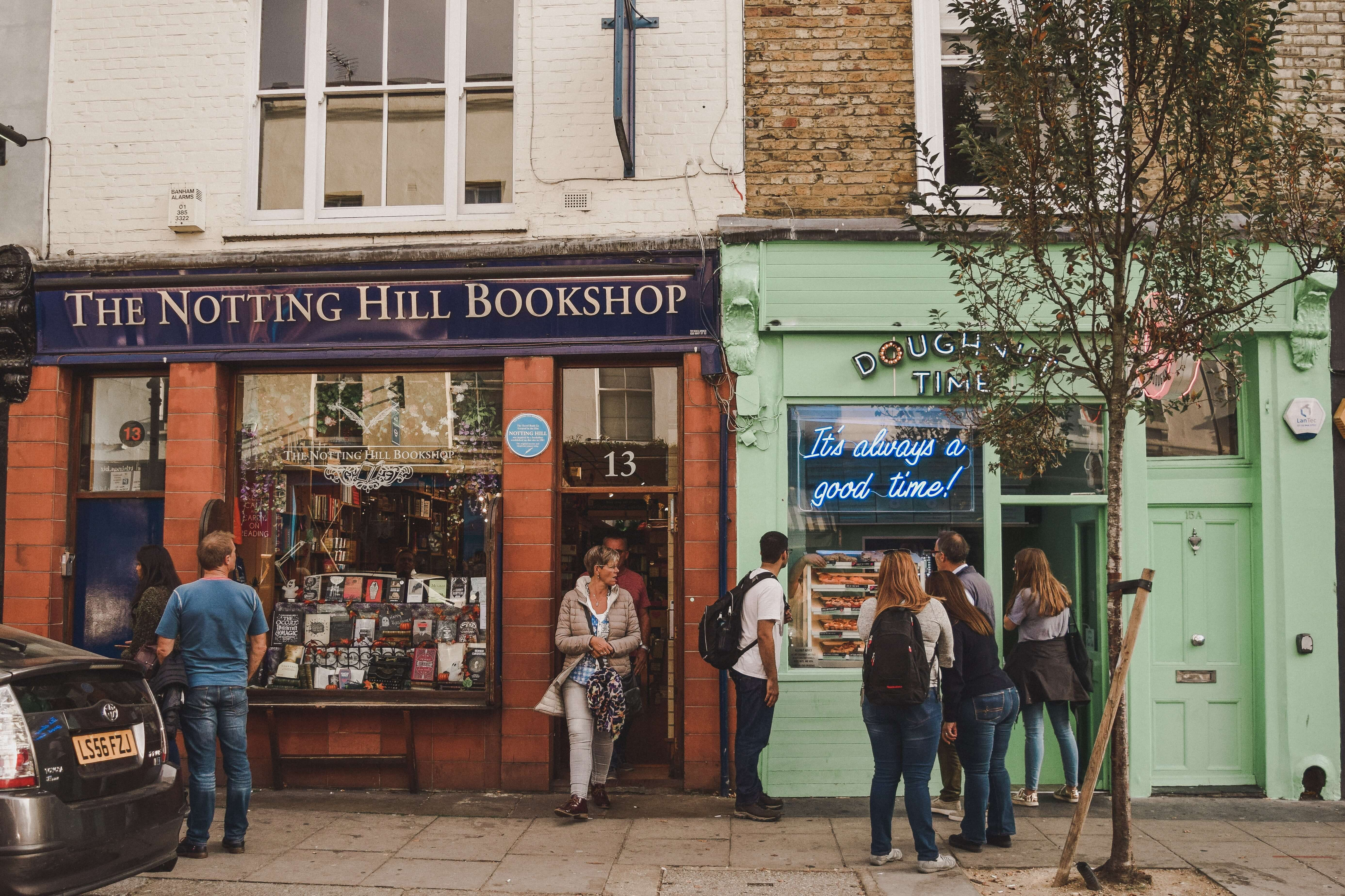 A bookshop and café in London with customers