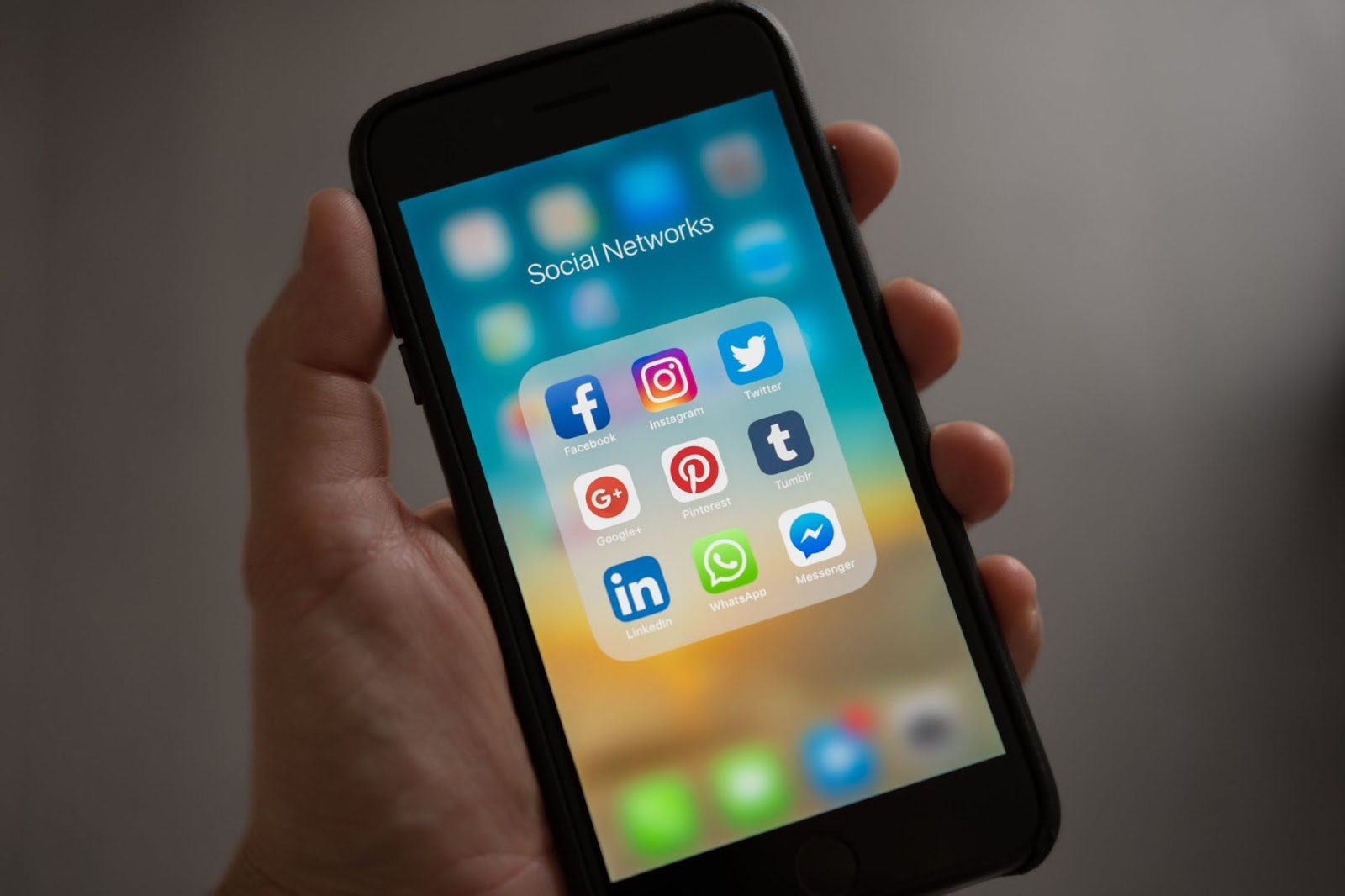 A phone with different social media apps