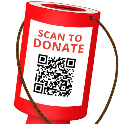 Scan to donate QR code on charity collection box